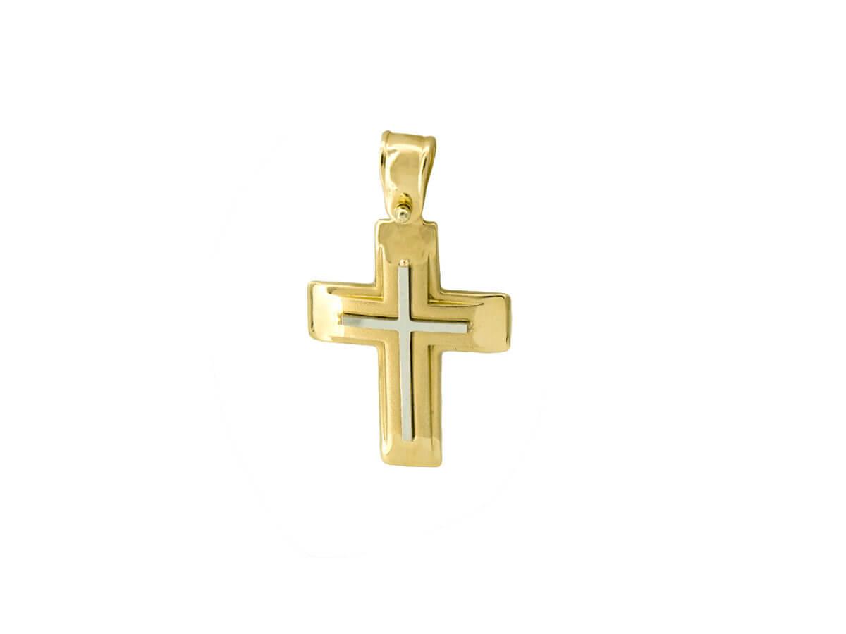 Χρυσός Σταυρός 14Κ Διχρωμία