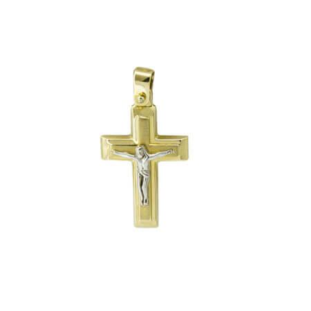Χρυσός Βαπτιστικός Σταυρός 14Κ Εσταυρωμένος