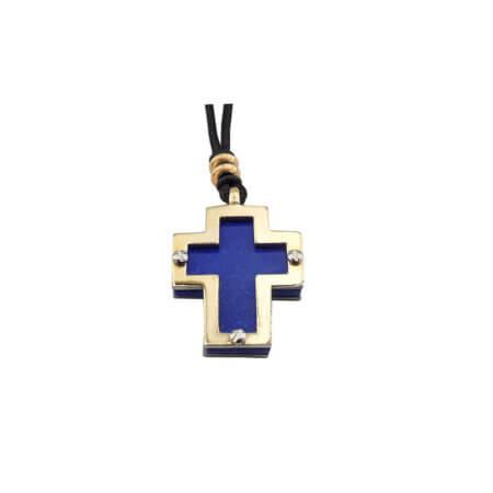 Χρυσός Σταυρός 14Κ Ατσάλι Κορδόνι