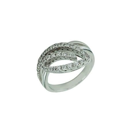 Γυναικείο Δαχτυλίδι Πέτρες Λευκές Ζιργκόν Γυναικείο Ασημένιο 925