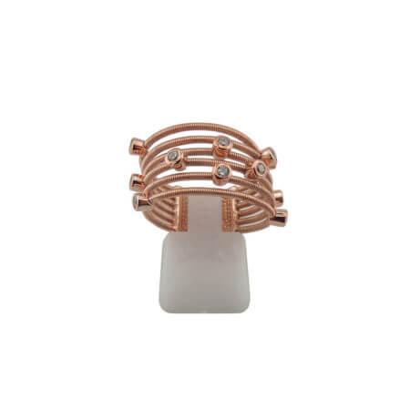 Δαχτυλίδι με Λευκά Ζιργκόν Ροζ Επίχρυσο Γυναικείο Ασημένιο 925