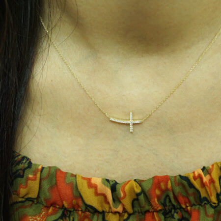 9Κ Γυναικείος Σταυρός Κολιέ Πέτρες Ζιργκόν Κορίτσι