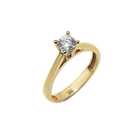 Γυναικείο Χρυσό Δαχτυλίδι 14Κ Μονόπετρο Επέτειος Αρραβώνας