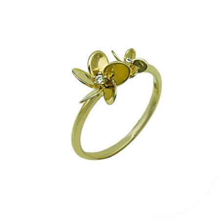 Δαχτυλίδι Γυναικείο 14Κ Χρυσό Ζιργκόν Πέτρες Δώρο