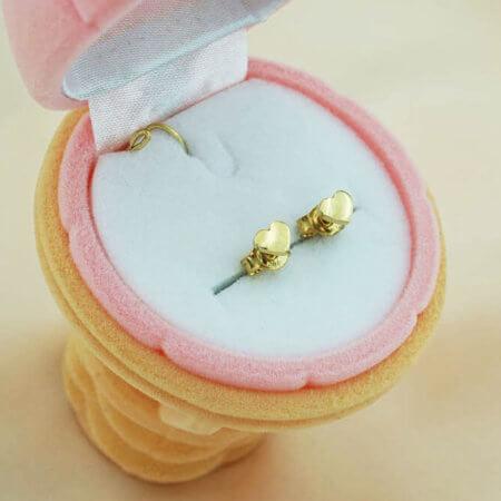 Παιδικά Σκουλαρίκια Καρδιές 9Κ Καρφωτά Κορίτσια Καρδιές Χρυσά