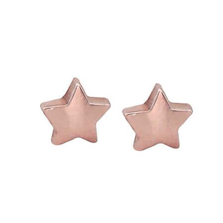 Ροζ Χρυσά Σκουλαρίκια Καρφωτά Αστεράκια 9Κ Βάπτιση Γενέθλια Κορίτσι