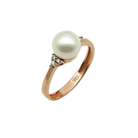 Ροζ Χρυσό Δαχτυλίδι 14Κ Μαργαριτάρι Ζιργκόν Πέτρες Επέτειος Αρραβώνας Δώρο