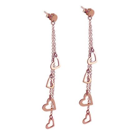 Σκουλαρίκια Καρδιές Σε Ροζ Χρυσό 14 Καρατίων Γυναικεία Καρφωτά