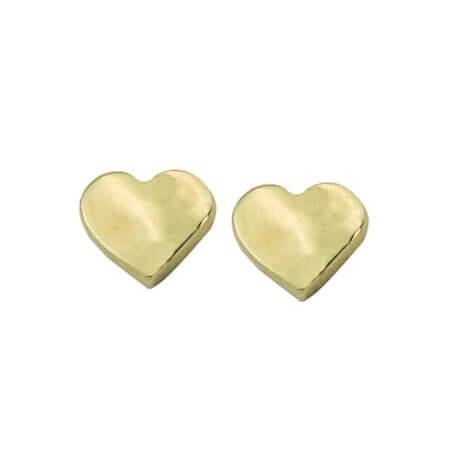 Χρυσά Καρφωτά Σκουλαρίκια Καρδιές 9 Καράτια Παιδικά Δώρο για Κορίτσια