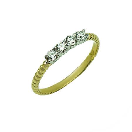 Ανάγλυφο Χρυσό Γυναικείο Δαχτυλίδι 14Κ Ζιργκόν Λευκές Πέτρες