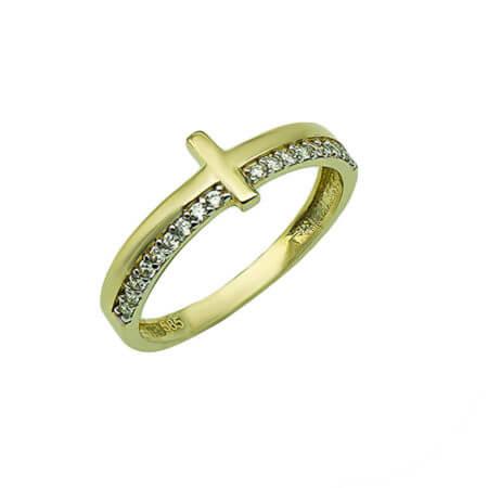 Χρυσό Γυναικείο Δαχτυλίδι Σταυρός 14Κ Ζιργκόν Κορίτσι Δώρο
