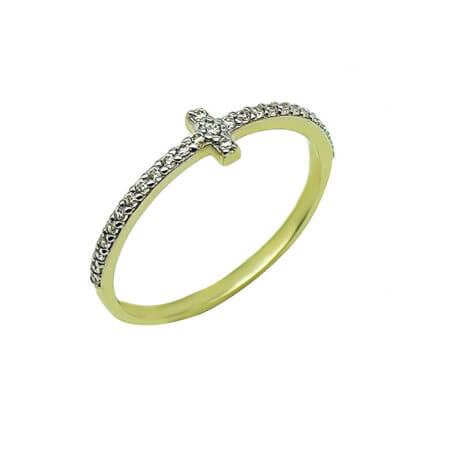 Χρυσό Γυναικείο Δαχτυλίδι Σταυρός Ζιργκόν Πέτρες 14Κ