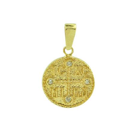Χρυσό Κωνσταντινάτο 9Κ Μενταγιόν Κωνσταντίνος Ελένη Διπλής Όψεως ΙΧΝΚ Γυναίκα Κορίτσι