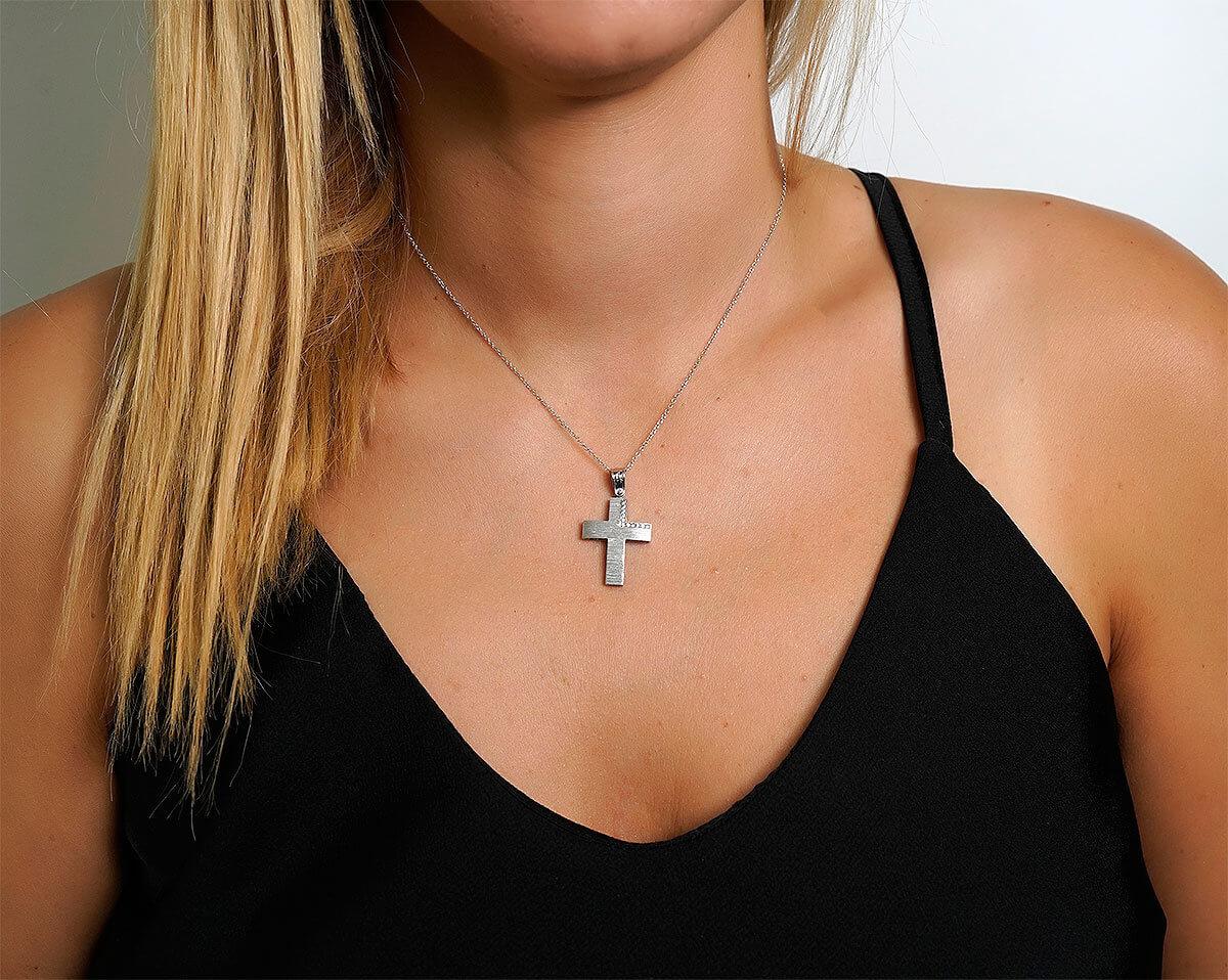 Λευκόχρυσος Γυναικείος Σταυρός 14Κ Ζιργκόν