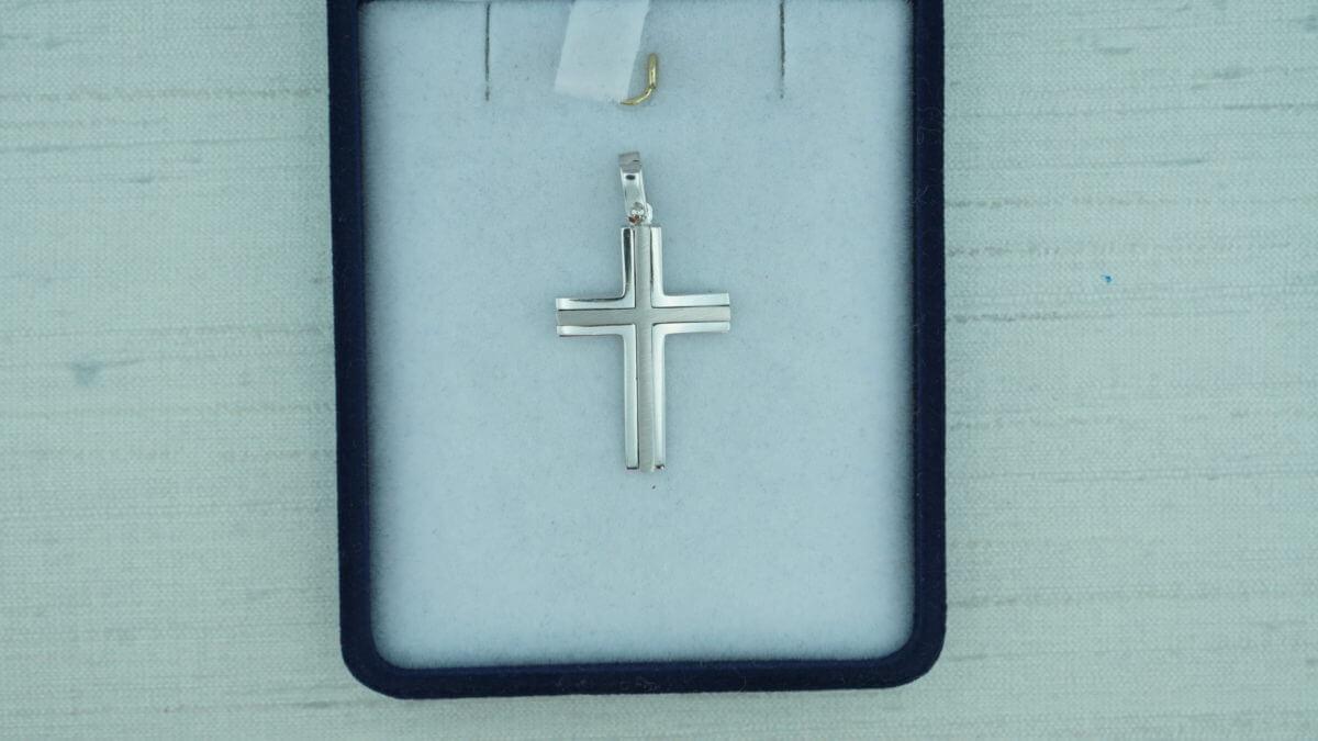 Προτείνεται Βάπτιση Αρραβώνα 14Κ Λευκόχρυσος Σταυρός