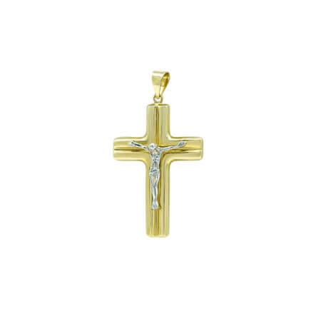 Χρυσός Σταυρός Βάπτισης Αγόρι Εσταυρωμένος 14Κ