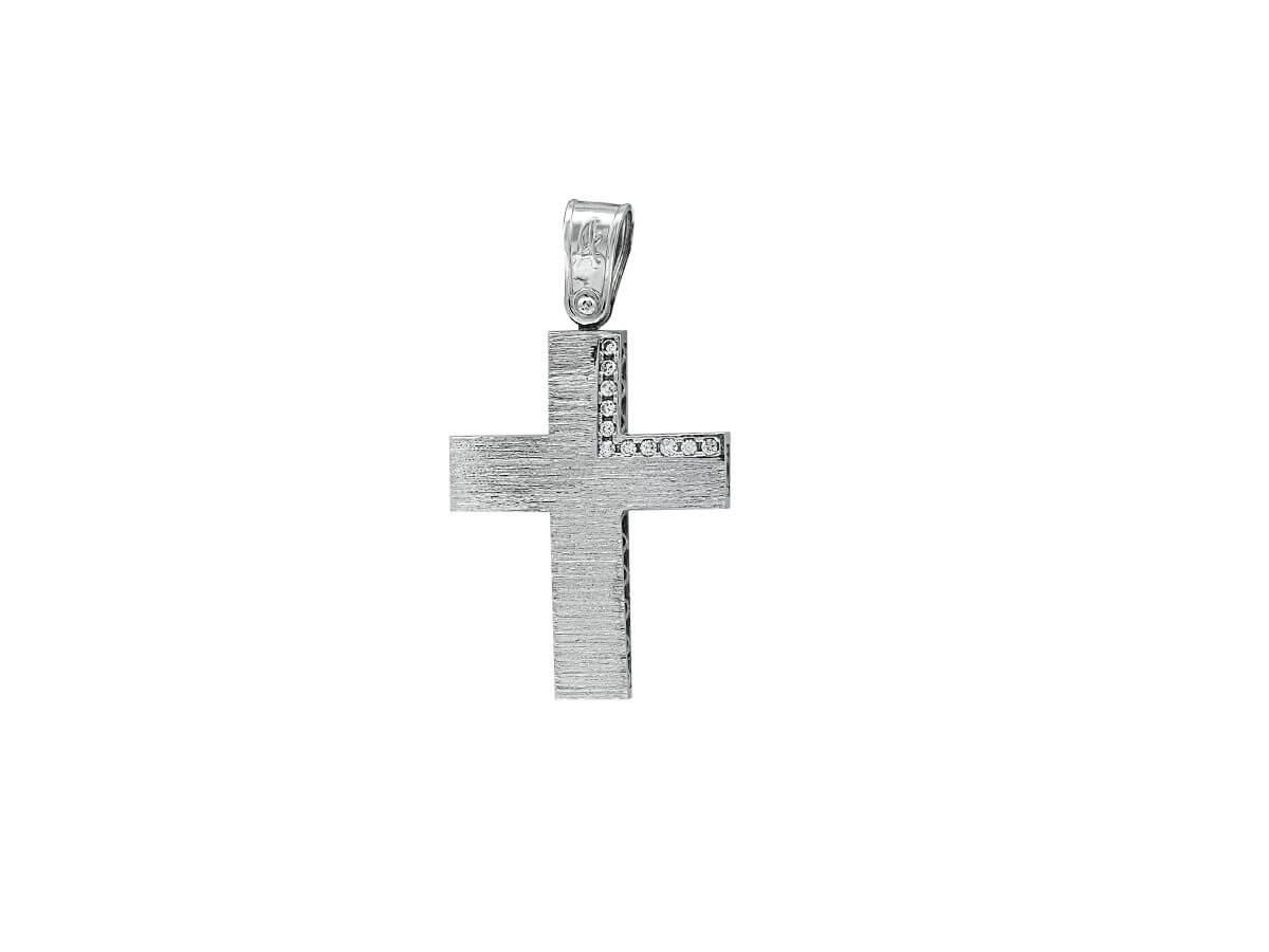 Βαπτιστικός Σταυρός Λευκόχρυσος Κορίτσι 14Κ Ζιργκόν Πέτρες