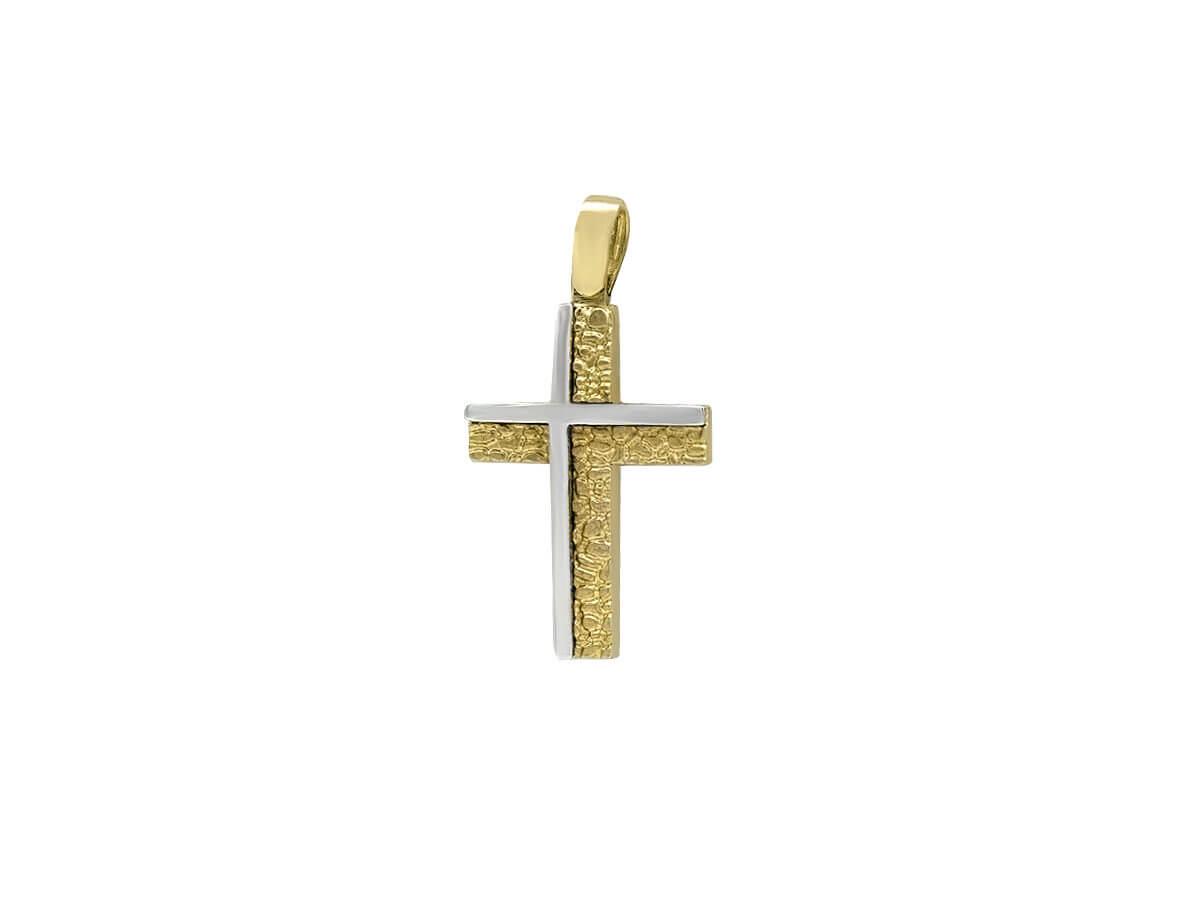 Χρυσός Σταυρός 14 Καρατίων Δίχρωμες Λεπτομέρειες