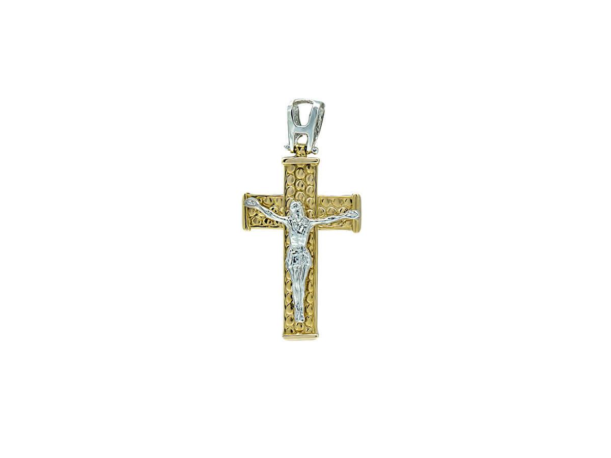 Χρυσός Σταυρός Με Τον Εσταυρωμένο 14Κ Διχρωμία