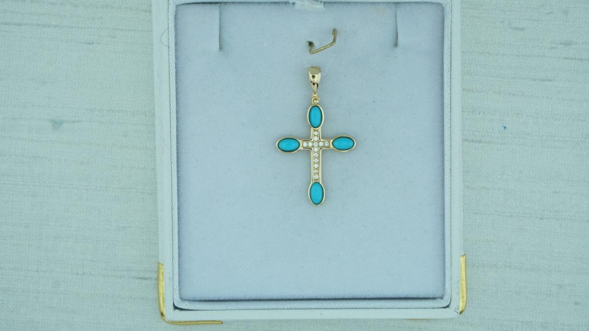 Χρυσός Σταυρός Γυναικείος 14Κ Τιρκουάζ Πέτρες