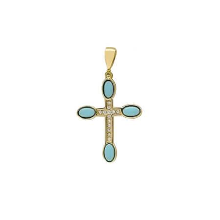 Χρυσός Σταυρός Γυναικείος Με Τιρκουάζ Πέτρες 14Κ