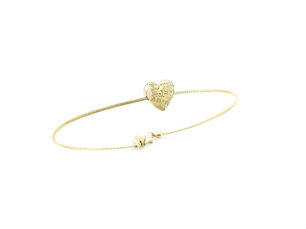 Χρυσό Βραχιόλι Χειροπέδα 14Κ Καρδιά