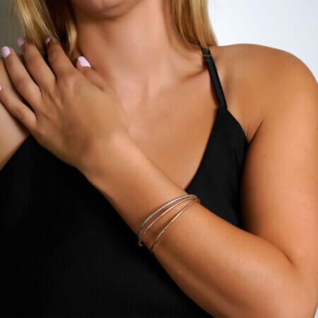 Χρυσό Βραχιόλι Τρία Χρώματα 14Κ Γυναικείο Κόσμημα Λευκόχρυσο