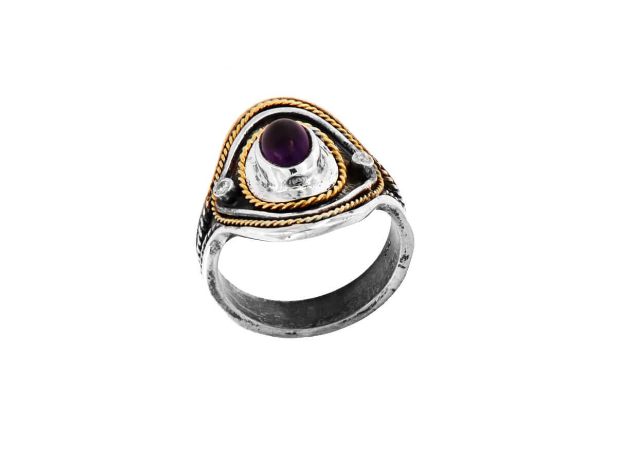 Ασημόχρυσο 18K 950 Χειροποίητο Δαχτυλίδι με Μπριγιάν Ρουμπίνι