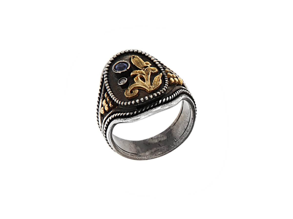 Δαχτυλίδι με Πέτρα Ζαφείρι Μπριγιάν 18Κ 950 Ασημόχρυσο