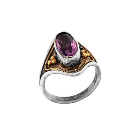 Ασημόχρυσο Δαχτυλίδι με Αμέθυστο Χειροποίητο 18Κ 950