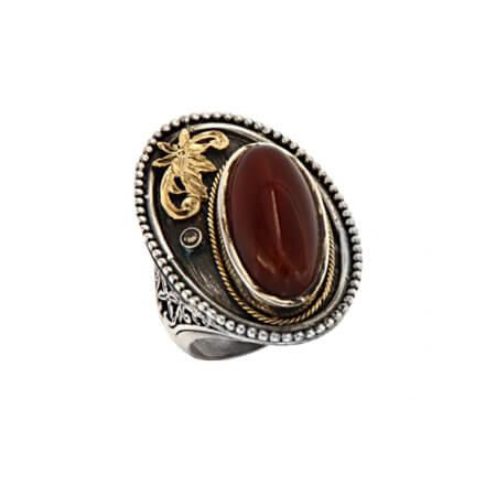 Ασημόχρυσο Χειροποίητο Δαχτυλίδι με Πέτρα Γυναικείο