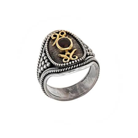Ασημόχρυσο Δαχτυλίδι Γυναικείο με Ρουμπίνι 18Κ 950