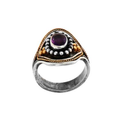 Ασημόχρυσο 950 18Κ Δαχτυλίδι με Μωβ Πέτρα Αμέθυστος