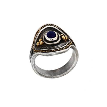 Ασημόχρυσο Δαχτυλίδι με Μπλε Ζαφείρι 950 18Κ