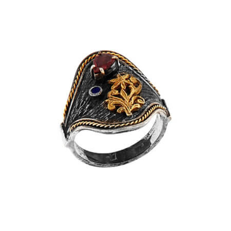 Δαχτυλίδι Χειροποίητο Από Ασήμι 18Κ 950 Αμέθυστο Μπριγιάν