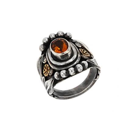 Ασημόχρυσο Δαχτυλίδι Citrine Μπριγιάν 950 18Κ