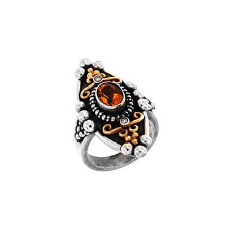 Χειροποίητο Δαχτυλίδι με Πέτρες Ασημόχρυσο 18Κ 950 Citrine Μπριγιάν