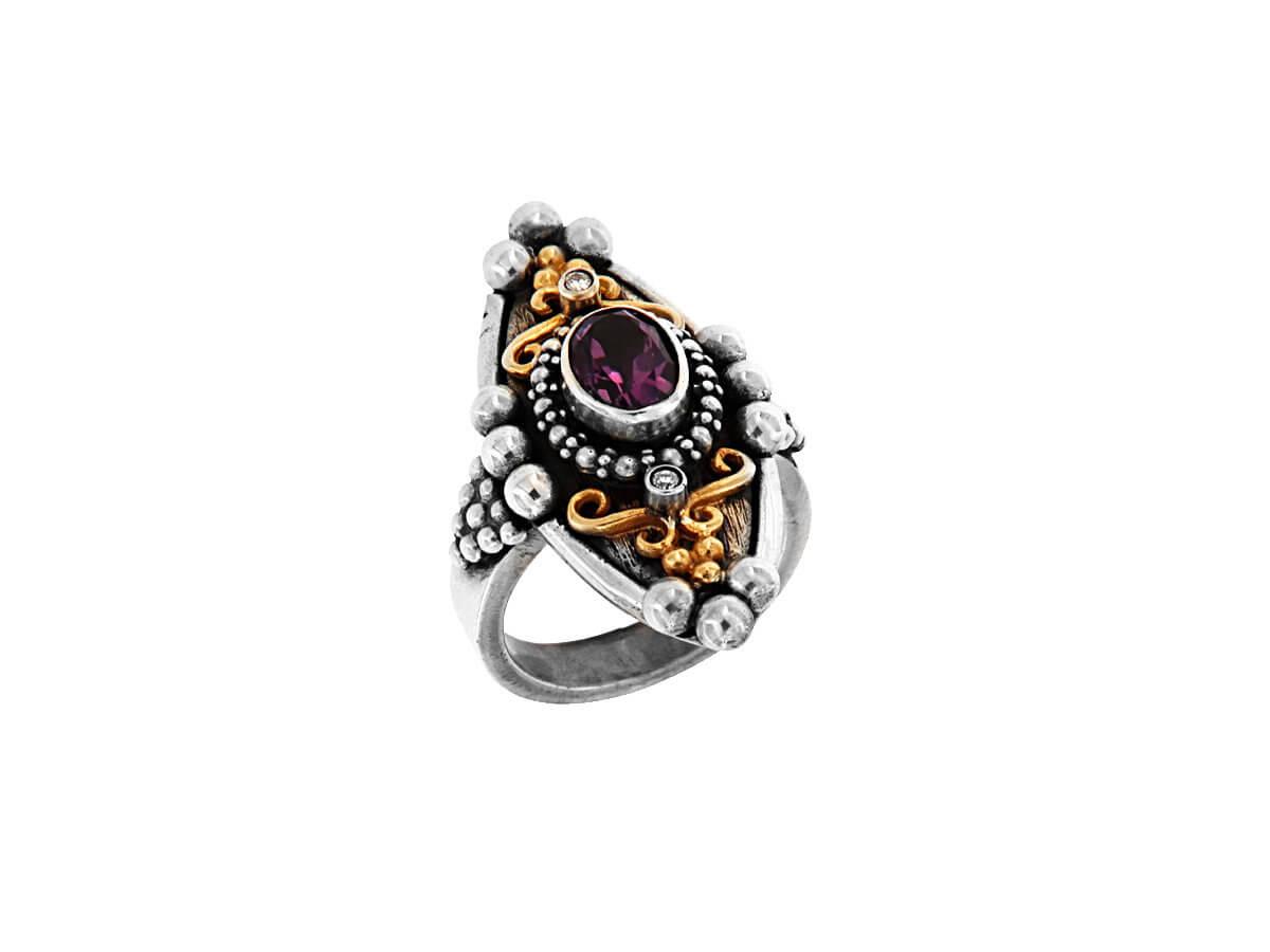 Χειροποίητο Δαχτυλίδι με Αμέθυστο Μπριγιάν Ασημόχρυσο 18Κ 950