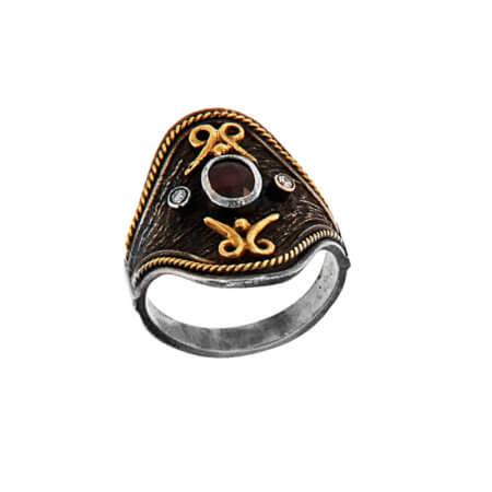 Δαχτυλίδι Χειροποίητο με Ρουμπίνι Μπριγιάν Ασημόχρυσο 18Κ 950