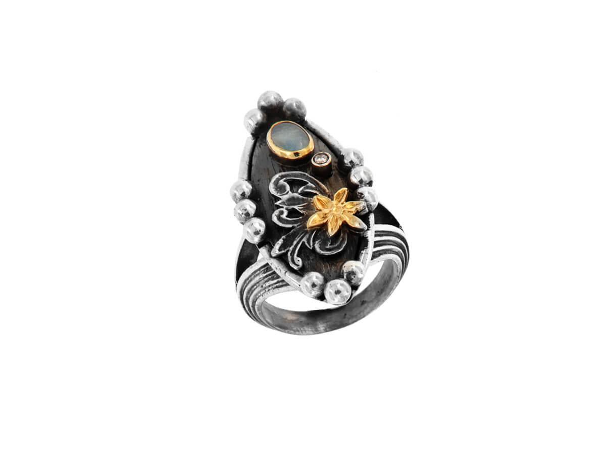 Δαχτυλίδι με Οπάλιο Μπριγιάν Χειροποίητο Ασημόχρυσο 18Κ 950