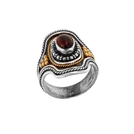 Χειροποίητο Δαχτυλίδι με Ρουμπίνι Ασημόχρυσο 18Κ 950