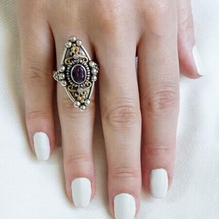 Δαχτυλίδι Γυναικείο Χειροποίητο Χρυσό Ασήμι Αμέθυστος Μπριγιάν