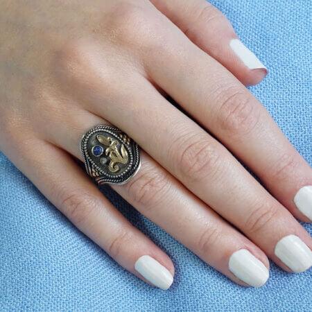 Δαχτυλίδι Ζαφείρι Μπριγιάν Ασημόχρυσο Γυναικείο Κόσμημα Χειροποίητο Δώρο