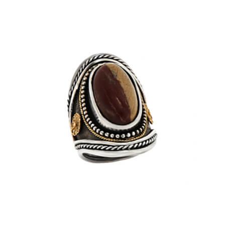 Δαχτυλίδι με Αχάτη Γυναικείο Ασημόχρυσο