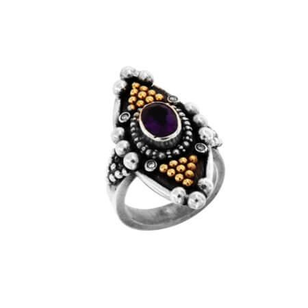 Δαχτυλίδι Χειροποίητο με Πέτρες Ασημόχρυσο 18Κ 950 Αμέθυστος Μπριγιάν