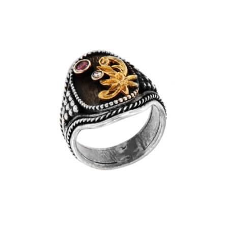 Ασημόχρυσο Δαχτυλίδι Χειροποίητο 18Κ 950 Αμέθυστος Μπριγιάν
