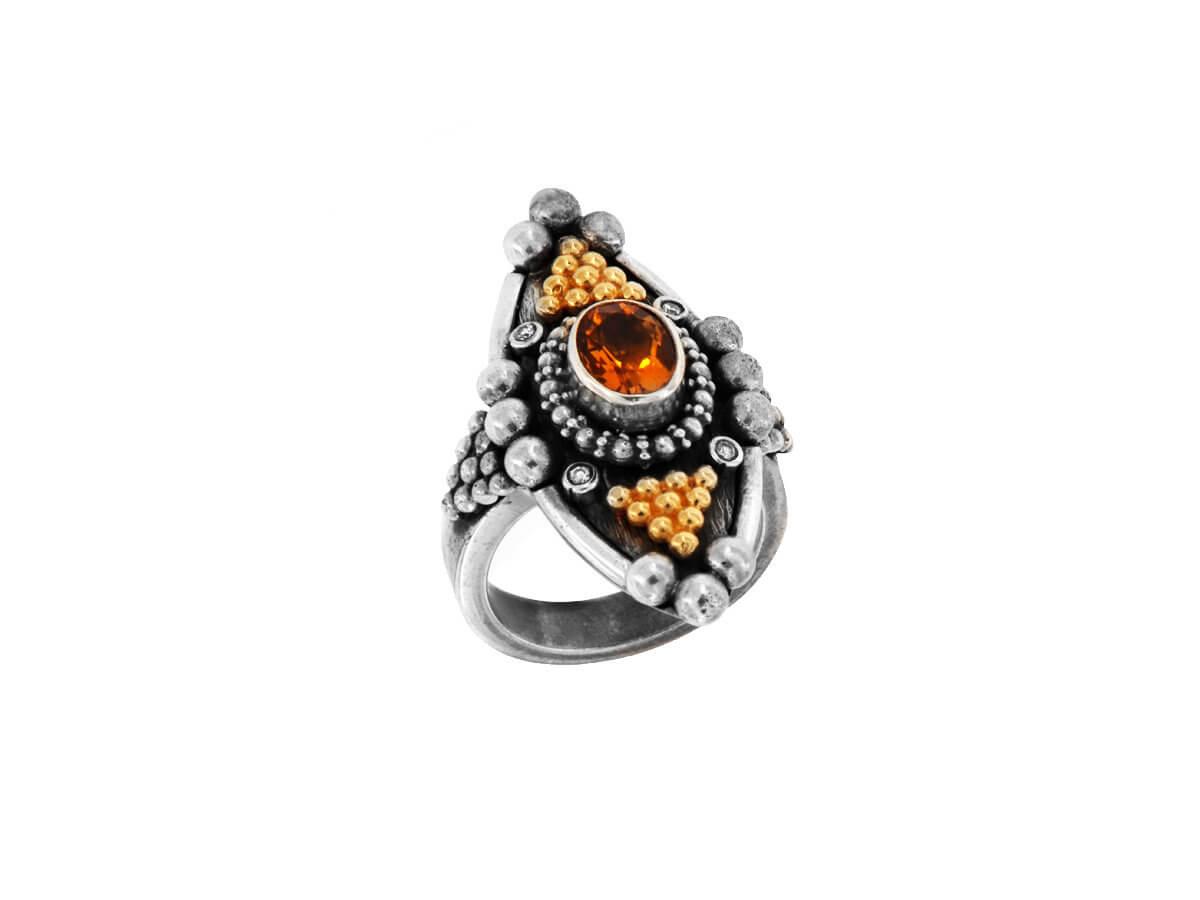 Δαχτυλίδι Χειροποίητο με Μπριγιάν Citrine 18Κ 950 Ασημόχρυσο