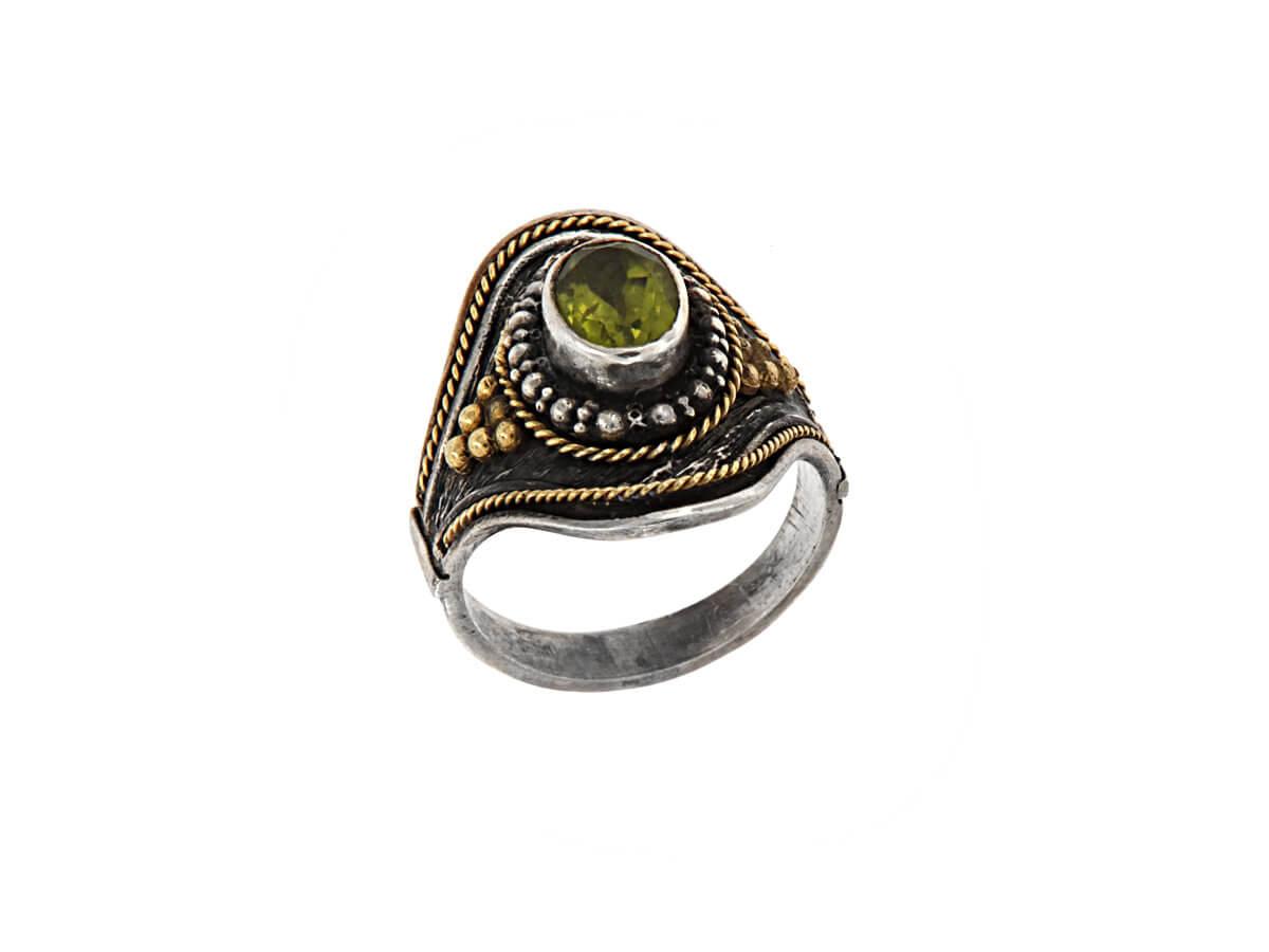 Δαχτυλίδι με πέτρα Αχάτη Χειροποίητο Ασημόχρυσο 18Κ 950