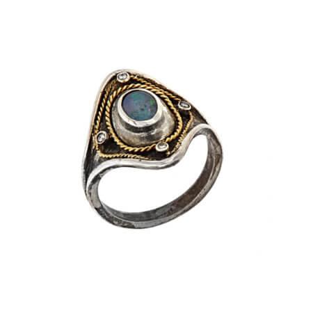 Δαχτυλίδι Χειροποίητο με Οπάλιο Μπριγιάν Ασημόχρυσο 18Κ 950