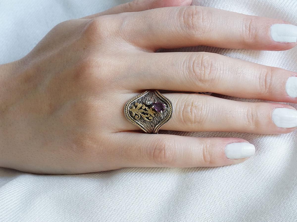 Δαχτυλίδι Χειροποίητο Ρουμπίνι Μπριγιάν 18Κ 950 Γυναίκα Δώρο Κόσμημα